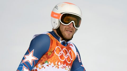 Feb 19, 2014; Krasnaya Polyana, RUSSIA; Bode Miller (USA) reacts after his first run of men's giant slalom during the Sochi 2014 Olympic Winter Games at Rosa Khutor Alpine Center. Mandatory Credit: Jack Gruber-USA TODAY Sports