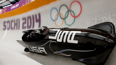 Feb 19, 2014; Krasnaya Polyana, RUSSIA; USA-1 team piloted by Steven Holcomb participates in four-man bobsleigh training during the Sochi 2014 Olympic Winter Games at Sanki Sliding Center. Mandatory Credit: Kevin Jairaj-USA TODAY Sports