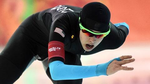 Feb 19, 2014; Sochi, RUSSIA; Maria Lamb (USA) in the speed skating ladies' 5000m during the Sochi 2014 Olympic Winter Games at Adler Arena Skating Center. Mandatory Credit: Robert Hanashiro-USA TODAY Sports