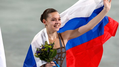 Feb 20, 2014; Sochi, RUSSIA; Adelina Sotnikova of Russia reacts after placing first in the ladies free skate program during the Sochi 2014 Olympic Winter Games at Iceberg Skating Palace. Mandatory Credit: Jeff Swinger-USA TODAY Sports