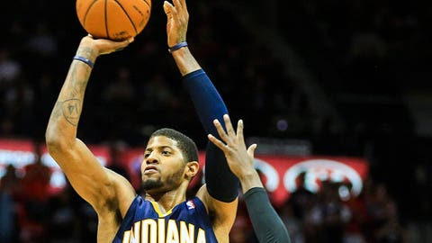 Feb 4, 2014; Atlanta, GA, USA; Indiana Pacers small forward Paul George (24) shoots a basket in the second half against the Atlanta Hawks at Philips Arena. The Pacers won 89-85. Mandatory Credit: Daniel Shirey-USA TODAY Sports