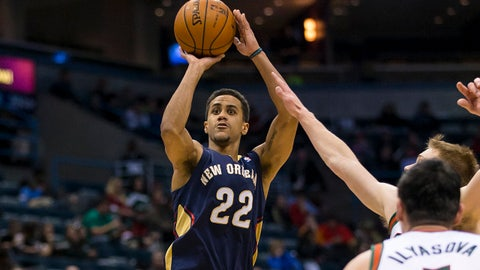 Feb 12, 2014; Milwaukee, WI, USA; New Orleans Pelicans guard Brian Roberts (22) shoots during the third quarter against the Milwaukee Bucks at BMO Harris Bradley Center. Mandatory Credit: Jeff Hanisch-USA TODAY Sports