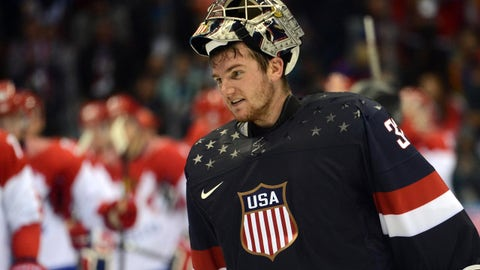 Feb 15, 2014; Sochi, RUSSIA; USA goalie Jonathan Quick (32) skates off the ice after a men's preliminary round ice hockey game against Russia during the Sochi 2014 Olympic Winter Games at Bolshoy Ice Dome. Mandatory Credit: Jayne Kamin-Oncea-USA TODAY Sports