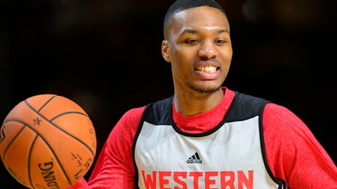 Feb 15, 2014; New Orleans, LA, USA; 2014 Western Conference All-Stars guard  Damian Lillard (Blazers) (0) dribbles during the practice session at Ernest N. Morial Convention Center. Mandatory Credit: Bob Donnan-USA TODAY Sports