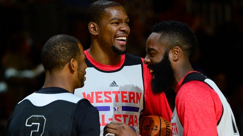 Feb 15, 2014; New Orleans, LA, USA; 2014 Western Conference All-Stars guard Chris Paul (Clippers) (3) and forward Kevin Durant (Thunder) (35) and guard James Harden (Rockets) (13) react during the practice session at Ernest N. Morial Convention Center. Mandatory Credit: Bob Donnan-USA TODAY Sports