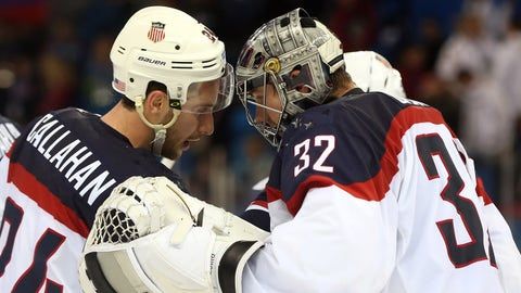 Feb 19, 2014; Sochi, RUSSIA; USA goalie Jonathan Quick (32) celebrates with Ryan Callahan (24) after defeating Czech Republic in the men's ice hockey quarterfinals during the Sochi 2014 Olympic Winter Games at Shayba Arena. Mandatory Credit: Winslow Townson-USA TODAY Sports