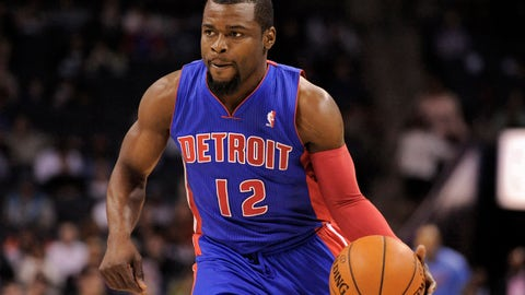 Feb 19, 2014; Charlotte, NC, USA; Detroit Pistons guard Will Bynum (12) drives down the court during the first half of the game against the Charlotte Bobcats at Time Warner Cable Arena. Mandatory Credit: Sam Sharpe-USA TODAY Sports