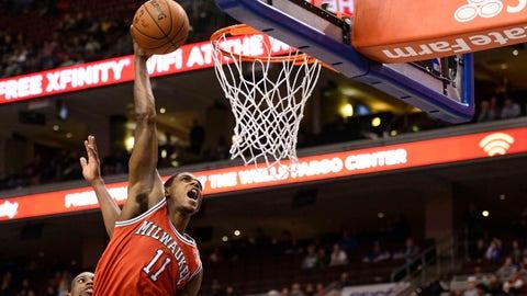 Feb 24, 2014; Philadelphia, PA, USA; Milwaukee Bucks guard Brandon Knight (11) dunks during the second quarter against the Philadelphia 76ers at the Wells Fargo Center. Mandatory Credit: Howard Smith-USA TODAY Sports