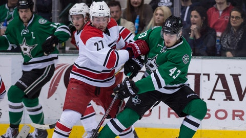Feb 27, 2014; Dallas, TX, USA; Dallas Stars right wing Valeri Nichushkin (43) fights for the puck with Carolina Hurricanes defenseman Justin Faulk (27) during the third period at the American Airlines Center. The Stars defeated the Hurricanes 4-1. Mandatory Credit: Jerome Miron-USA TODAY Sports
