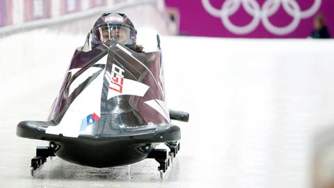 Feb 16, 2014; Krasnaya Polyana, RUSSIA; United States team piloted by Elana Meyers with Lauryn Williams during women's bobsleigh training of the Sochi 2014 Olympic Winter Games at Sanki Sliding Center. Mandatory Credit: Kevin Jairaj-USA TODAY Sports