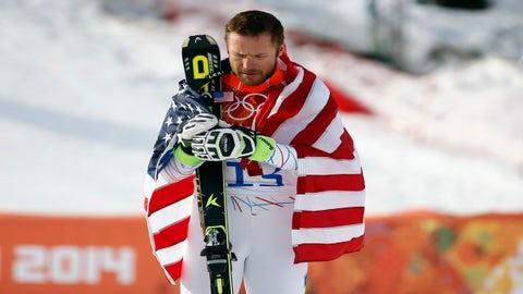 Feb 16, 2014; Krasnaya Polyana, RUSSIA; Bode Miller (USA) celebrates winning bronze in men's alpine skiing super-G during the Sochi 2014 Olympic Winter Games at Rosa Khutor Alpine Center. Mandatory Credit: Rob Schumacher-USA TODAY Sports