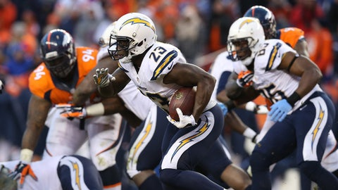 Jan 12, 2014; Denver, CO, USA; San Diego Chargers running back Ronnie Brown (23) runs with the ball against the Denver Broncos during the 2013 AFC divisional playoff football game at Sports Authority Field at Mile High. Mandatory Credit: Matthew Emmons-USA TODAY Sports