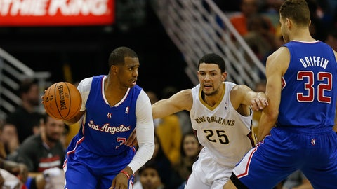 Feb 24, 2014; New Orleans, LA, USA; Los Angeles Clippers point guard Chris Paul (3) dribbles the ball against the New Orleans Pelicans during the second quarter at the Smoothie King Center. Mandatory Credit: Derick E. Hingle-USA TODAY Sports