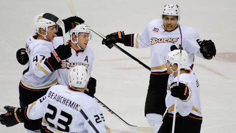 Feb 8, 2014; Nashville, TN, USA; The Anaheim Ducks celebrate a goal by right wing Emerson Etem (65) during the third period at Bridgestone Arena. Mandatory Credit: Mike Strasinger-USA TODAY Sports