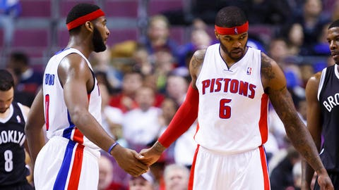 Feb 7, 2014; Auburn Hills, MI, USA; Detroit Pistons small forward Josh Smith (6) receives congratulations from center Andre Drummond (0) after scoring in the first half against the Brooklyn Nets at The Palace of Auburn Hills. Mandatory Credit: Rick Osentoski-USA TODAY Sports