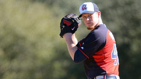 Feb 16, 2014; Lake Buena Vistas, FL, USA; Atlanta Braves pitcher Craig Kimbrel (46) throws the ball during spring training at Champion Stadium. Mandatory Credit: Jonathan Dyer-USA TODAY Sports