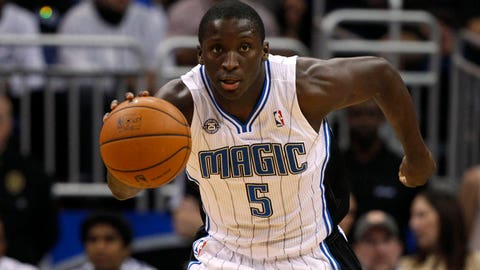 Feb 9, 2014; Orlando, FL, USA; Orlando Magic shooting guard Victor Oladipo (5) drives to the basket against the Indiana Pacers during the second quarter at Amway Center. Mandatory Credit: Kim Klement-USA TODAY Sports