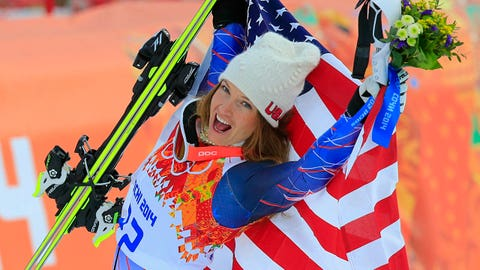 US skier Julia Mancuso reacts during the Women's Alpine Skiing Super Combined Flower Ceremony at the Rosa Khutor Alpine Center during the Sochi Winter Olympics on February 10, 2014. AFP PHOTO / ALEXANDER KLEIN        (Photo credit should read ALEXANDER KLEIN/AFP/Getty Images)