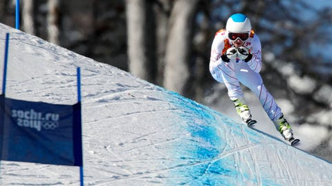 US skier Julia Mancuso takes part in a Women's Alpine Skiing Downhill training session at the Rosa Khutor Alpine Center on February 7, 2014, before the start of the Sochi Winter Olympics.    AFP PHOTO / FABRICE COFFRINI        (Photo credit should read FABRICE COFFRINI/AFP/Getty Images)