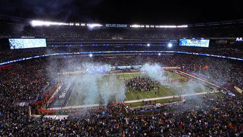 Feb 2, 2014; East Rutherford, NJ, USA; A general view as blue and green confetti is shot in the air after Super Bowl XLVIII between the Seattle Seahawks and the Denver Broncos at MetLife Stadium.  Mandatory Credit: Anthony Gruppuso-USA TODAY Sports
