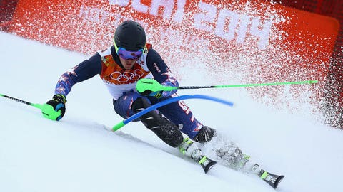 SOCHI, RUSSIA - FEBRUARY 14:  Ted Ligety of the United States competes during the Alpine Skiing Men's Super Combined Downhill on day 7 of the Sochi 2014 Winter Olympics at Rosa Khutor Alpine Center on February 14, 2014 in Sochi, Russia.  (Photo by Doug Pensinger/Getty Images)