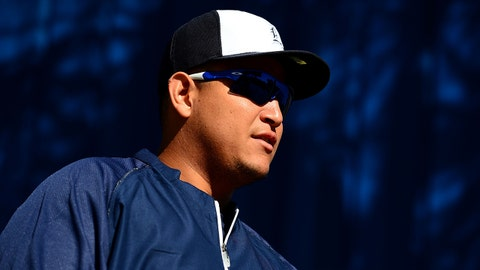 Feb 18, 2014; Lakeland, FL, USA; Detroit Tigers first baseman Miguel Cabrera during a team practice at Joker Marchant Stadium. Mandatory Credit: Andrew Weber-USA TODAY Sports