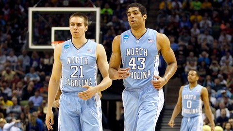 Mar 23, 2014; San Antonio, TX, USA; North Carolina Tar Heels forward James Michael McAdoo (43) and forward Jackson Simmons (21) on court in the second half of a men's college basketball game against the Iowa State Cyclones during the third round of the 2014 NCAA Tournament at AT&T Center. Mandatory Credit: Soobum Im-USA TODAY Sports