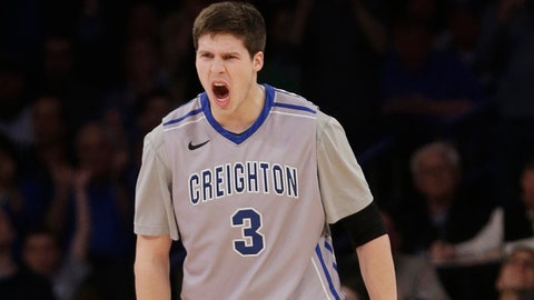 Creighton's Doug McDermott (3) reacts after scoring during the first half of an NCAA college basketball game in the finals of the Big East Conference tournament Saturday, March 15, 2014, at Madison Square Garden in New York. (AP Photo/Frank Franklin II)
