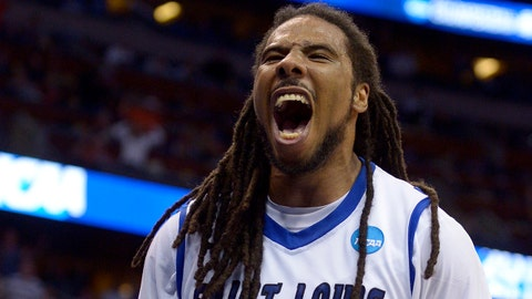 Saint Louis guard Jordair Jett (5) screams as his team ties the game with North Carolina State in the second half of a second-round game in the NCAA college basketball tournament Thursday, March 20, 2014, in Orlando, Fla. (AP Photo/Phelan M. Ebenhack)