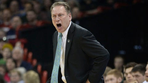 Mar 22, 2014; Spokane, WA, USA; Michigan State Spartans head coach Tom Izzo instructs against the Harvard Crimson in the second half of a men's college basketball game during the third round of the 2014 NCAA Tournament at Veterans Memorial Arena. Mandatory Credit: Kirby Lee-USA TODAY Sports