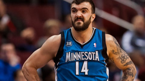 Jan 6, 2014; Philadelphia, PA, USA; Minnesota Timberwolves center Nikola Pekovic (14) during the first quarter against the Philadelphia 76ers at the Wells Fargo Center. The Timberwolves defeated the Sixers 126-95. Mandatory Credit: Howard Smith-USA TODAY Sports