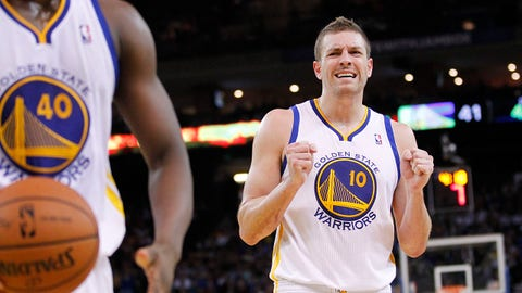 Mar 9, 2014; Oakland, CA, USA; Golden State Warriors forward David Lee (10) reacts after forward Harrison Barnes (40) was called for a foul against the Phoenix Suns in the second quarter at Oracle Arena. Mandatory Credit: Cary Edmondson-USA TODAY Sports