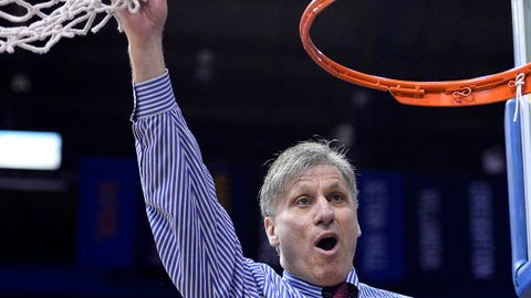 Mar 11, 2014; Chicago, IL, USA; DePaul Blue Demons head coach Doug Bruno reacts after the Big East Conference Women's basketball tournament at the Allstate Arena. DePaul defeats St. John's 65-57. Mandatory Credit: Mike DiNovo-USA TODAY Sports