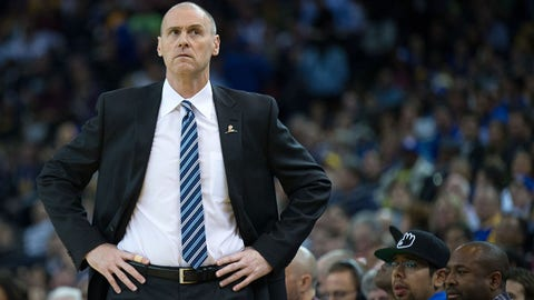 Mar 11, 2014; Oakland, CA, USA; Dallas Mavericks head coach Rick Carlisle on the sideline during the first quarter against the Golden State Warriors at Oracle Arena. Mandatory Credit: Kelley L Cox-USA TODAY Sports