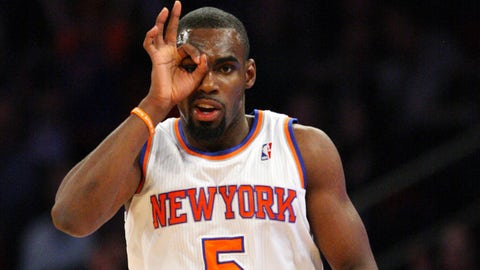 Mar 15, 2014; New York, NY, USA; New York Knicks guard Tim Hardaway Jr. (5) reacts after making a three point shot  in the first half at Madison Square Garden. Mandatory Credit: Noah K. Murray-USA TODAY Sports