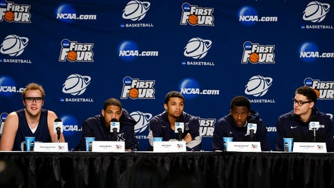 Mar 17, 2014; Dayton, OH, USA; (From left to right) Xavier Musketeers center Matt Stainbrook, forward Justin Martin, guard Dee Davis, guard Semaj Christon and forward Isaiah Philmore take questions from the media before practice the day before the first round the NCAA Tournament at UD Arena. Mandatory Credit: Rick Osentoski-USA TODAY Sports