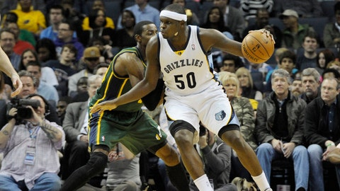 Mar 19, 2014; Memphis, TN, USA; Memphis Grizzlies forward Zach Randolph (50) drives to the basket against the Utah Jazz during the second quarter at FedExForum. Mandatory Credit: Justin Ford-USA TODAY Sports