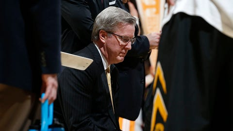 Mar 19, 2014; Dayton, OH, USA; Iowa Hawkeyes head coach Fran McCaffery sits on the bench in the second half of a college basketball game against the Tennessee Volunteers during the first round of the 2014 NCAA Tournament at UD Arena. Tennessee defeated Iowa 78-65 in overtime. Mandatory Credit: Brian Spurlock-USA TODAY Sports