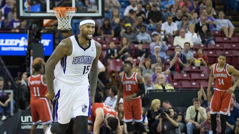 Mar 23, 2014; Sacramento, CA, USA; Sacramento Kings center DeMarcus Cousins (15) celebrates after a basket against the Milwaukee Bucks during the second quarter at Sleep Train Arena. Mandatory Credit: Kelley L Cox-USA TODAY Sports