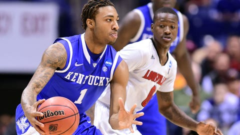 Mar 28, 2014; Indianapolis, IN, USA; Kentucky Wildcats guard/forward James Young (1) in the second half in the semifinals of the midwest regional of the 2014 NCAA Mens Basketball Championship tournament against the Louisville Cardinals at Lucas Oil Stadium. Mandatory Credit: Bob Donnan-USA TODAY Sports
