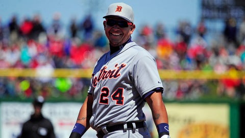 Mar 26, 2014; Clearwater, FL, USA; Detroit Tigers first baseman Miguel Cabrera (24) laughs in the second inning against the Philadelphia Phillies in a spring training exhibition game at Bright House Field. Mandatory Credit: David Manning-USA TODAY Sports