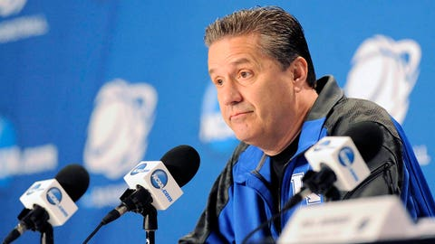 Mar 27, 2014; Indianapolis, IN, USA; Kentucky Wildcats head coach John Calipari at a press conference during practice for the midwest regional of the 2014 NCAA Tournament at Lucas Oil Stadium. Mandatory Credit: Thomas J. Russo-USA TODAY Sports
