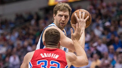 Mar 27, 2014; Dallas, TX, USA; Los Angeles Clippers forward Blake Griffin (32) guards Dallas Mavericks forward Dirk Nowitzki (41) during the first quarter at the American Airlines Center. Mandatory Credit: Jerome Miron-USA TODAY Sports