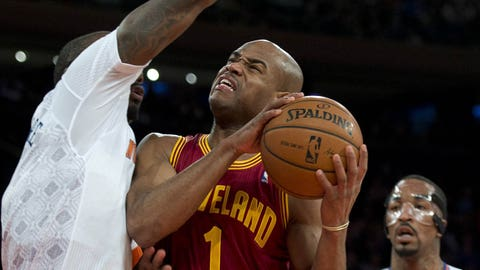 Cleveland Cavaliers Jarrett Jack (R) looks for a shot while being guarded by New York Knicks Amar'e Stoudemire during their NBA game March 23, 2014 at Madison Square Garden in New York. AFP PHOTO/Don Emmert        (Photo credit should read DON EMMERT/AFP/Getty Images)