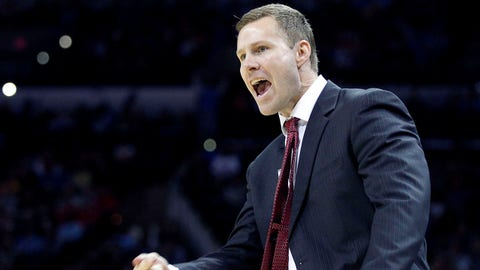 Mar 23, 2014; San Antonio, TX, USA; Iowa State Cyclones head coach Fred Hoiberg yells in the first half of a men's college basketball game against the North Carolina Tar Heels during the third round of the 2014 NCAA Tournament at AT&T Center. Mandatory Credit: Soobum Im-USA TODAY Sports