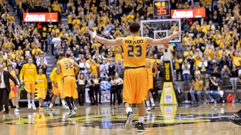 Feb 1, 2014; Wichita, KS, USA; Wichita State Shockers guard Fred VanVleet (23) reacts after the Shockers take the lead late in the first half against Evansville Aces at Charles Koch Arena. Mandatory Credit: Peter G. Aiken-USA TODAY Sports
