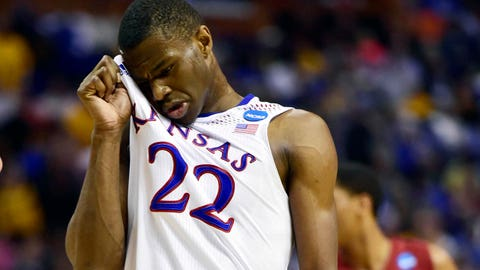 Mar 23, 2014; St. Louis, MO, USA; Kansas Jayhawks guard Andrew Wiggins (22) reacts against the Stanford Cardinal during the second half in the third round of the 2014 NCAA Men's Basketball Championship at Scottrade Center. Mandatory Credit: Scott Rovak-USA TODAY Sports