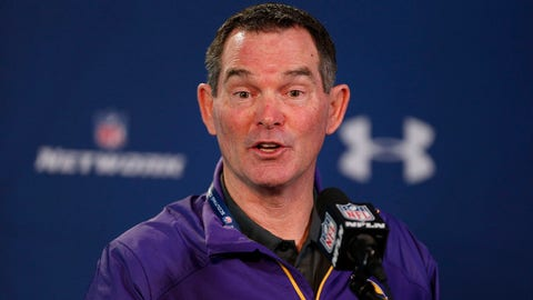 Feb 21, 2014; Indianapolis, IN, USA; Minnesota Vikings coach Mike Zimmer speaks to the media in a press conference during the 2014 NFL Combine at Lucas Oil Stadium. Mandatory Credit: Brian Spurlock-USA TODAY Sports