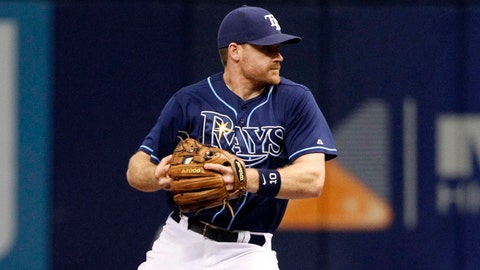 May 24, 2014; St. Petersburg, FL, USA; Tampa Bay Rays second baseman Logan Forsythe (10) forces out Boston Red Sox left fielder Jonny Gomes (5) at second base during the third inning at Tropicana Field. Mandatory Credit: Kim Klement-USA TODAY Sports