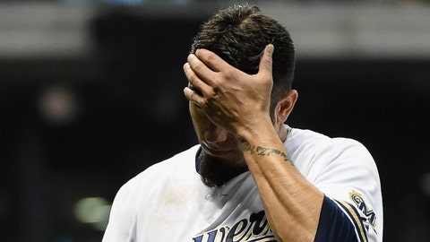 May 27, 2014; Milwaukee, WI, USA;  Milwaukee Brewers pitcher Matt Garza (22) reacts after being taken out of the game in the seventh inning against the Baltimore Orioles at Miller Park.  Mandatory Credit: Benny Sieu-USA TODAY Sports